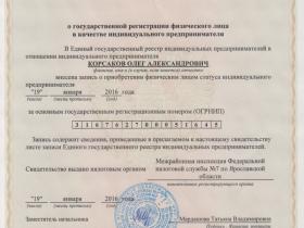 Свидетельство о государственной регистрации физического лица в качестве ИП